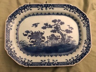 18th 19th Century Antique Blue White Chinese Flow Porcelain Platter Willow