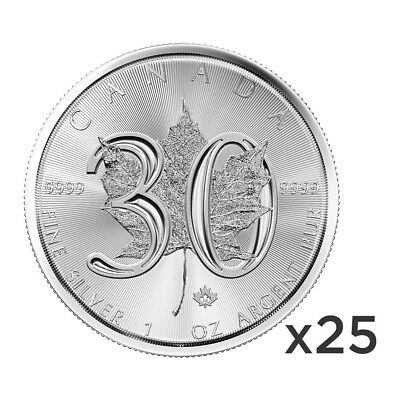 Lot of 25 x 1 oz 2018 Canadian Maple Leaf 30th Anniversary Silver Coin