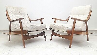 2 x Vintage Retro Mid Century Teak Armchairs With Side Tables Danish Easy Chair