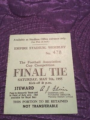 1955 Fa Cup Final Original Stewards Ticket Rare