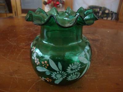 Fine Antique Victorian Mary Gregory Era Enameled Green Glass Vase.