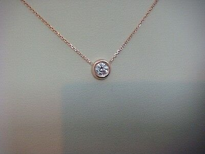 "0.25 Carat 14K Rose Gold Thicker Bezel ""diamonds By The Yard"" Necklace, 16 Inch"