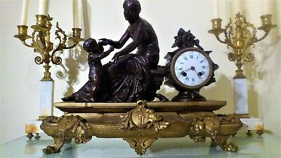 French Louis XV Style Bronzed & Gilt Figural Mantel Clock.