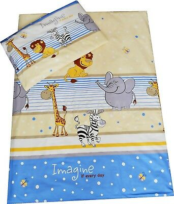 Kids Bedding Set For Cot / Cot Bed Duvet Cover + Pillowcase Blue Jungle ZOO