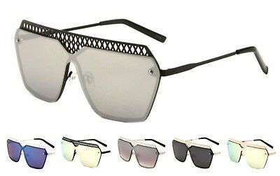 Wholesale 12 Pair Rimless One Piece Metal Sunglasses with Color Mirror Lens