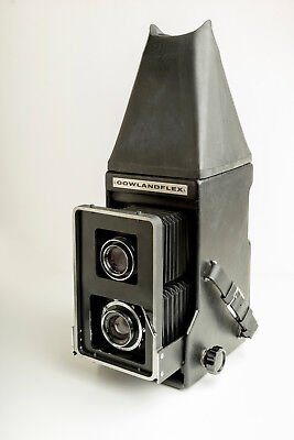 "Gowlandflex 4"" x 5"" TLR Camera Mint- Condition With Finder, Lenses, Hood"