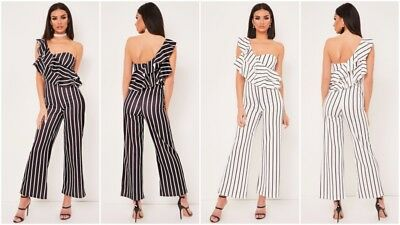 New Womens Frill One Shoulder Ladies Stripe Jumpsuit Wide Leg Trousers Romper UK