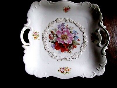 Antique Floral Square Cake Plate  Tray with Handles Marked PM Bavaria