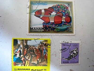 3 Manama Stamps