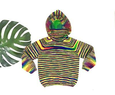 Vintage Rainbow Striped Sweater 70s Space Dyed Handmade Sweater Retro Hoodie