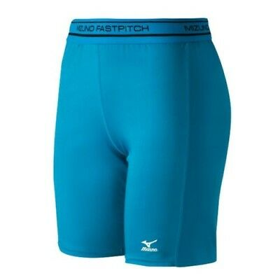(Medium, Diva Blue) - Mizuno Low Rise Compression Sliding Shorts. Unbranded