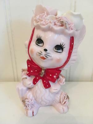 Vintage Napco Pink Ceramic Kitty with Red Bow ~ 1G4306 ~ No Kittens