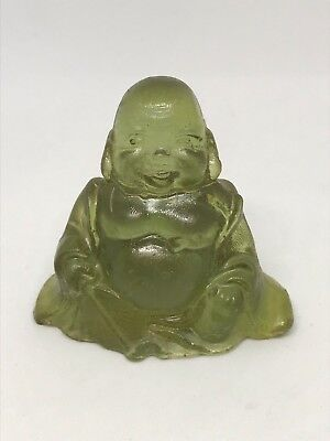 Vintage Lucite Sitting Buddha Figurine Light Green Hand Made