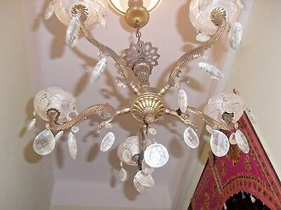 antique French 5 lights gilded chandelier bronze crystal exquisite vintage 19th