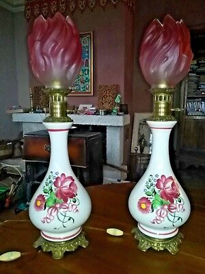 antique French large pair Kerosene oil Lamp crystal electric19th brass & china
