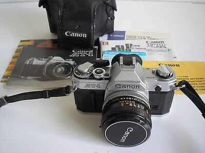 Clean Canon At-1 Camera. Estate Piece With Various Papers. Vintage Slr.