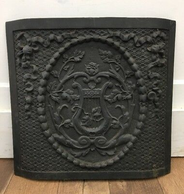 "ORNATE ANTIQUE Cast Iron Fireplace Cover Decorative Harp 20.25"" X 19"""