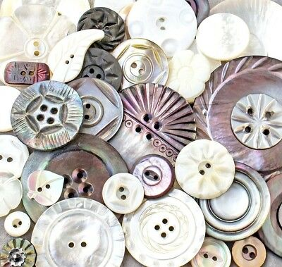 Antique, Vintage Carved MOP, Shell Buttons, Wonderful Assortment