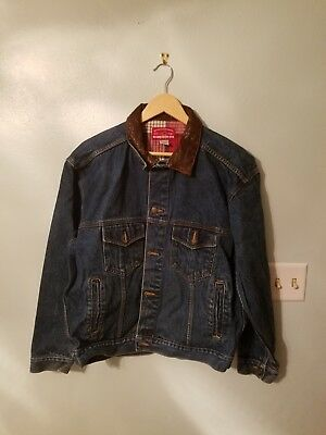 NEW - Vintage Mens Denim Jacket Marlboro Country Store Size Medium Leather Neck