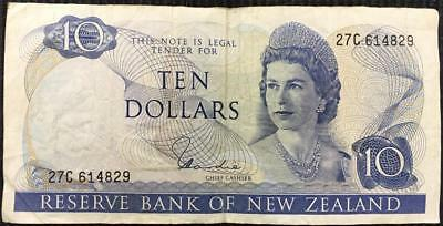 1967 Reserve Bank of New Zealand $10 Banknote P.166