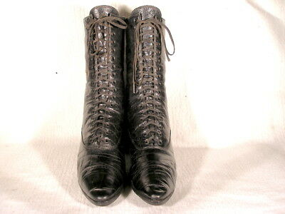 Antique Edwardian Period Black Leather Lace Up Boots Us 8 1/2 Narrow