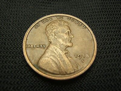 1918-S Extra Fine XF old  Lincoln Wheat Cent US Coin semi key date