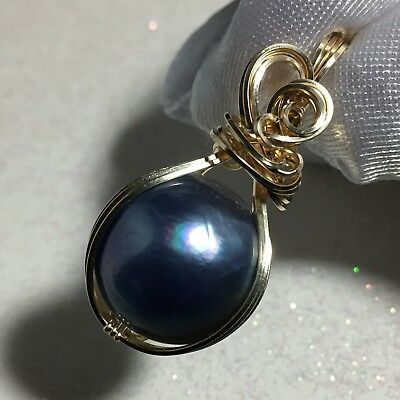 MABE PEARL PENDANT Blue Black - 14k Gold Fill w/ necklace Wrapped Jewelry MgBz