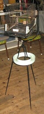 Vintage Mid Century Bird Cage & Tripod Stand With Floral Ring
