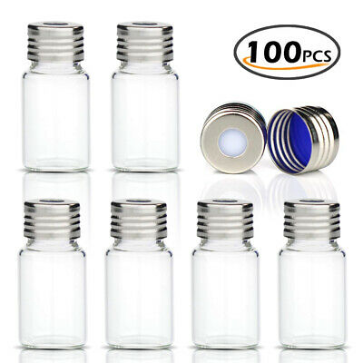 100x set 10ml Sample Vials with Screw Top Clear Glass Bottles + Caps Lab HPLC GC
