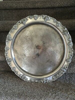 "VTG FB Rogers Silver Co Victorian 20"" Serving Tray Platter 8208 Silver On Copper"