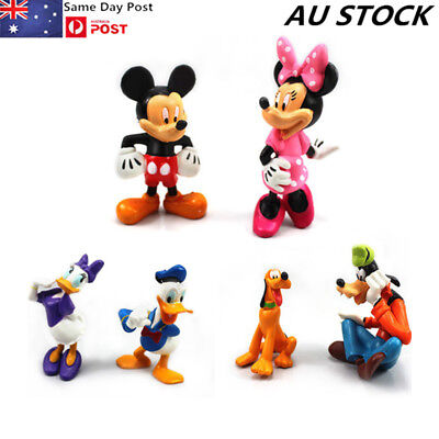 6Pcs Disney Mickey Mouse Minnie Donald Figures Cake Topper Clubhouse Playset Toy