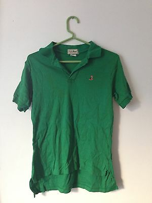 Vintage LL Bean Original Mens Green Polo Shirt Embroidered Boot Logo USA SMALL