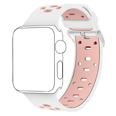(42MM, White/Pink) - Band for Apple Watch 42mm ,Langte Soft Silicone Apple