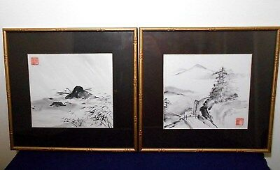 PAIR, ASIAN INK WASH LANDSCAPE PAINTINGS ON PAPER, SIGNED, FRAMED, w/CHOP MARK