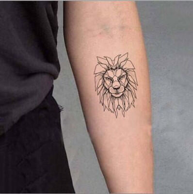 Waterproof Temporary Fake Tattoo Stickers Grey Lion Vintage Cool