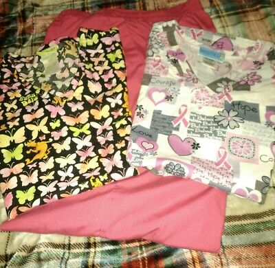 Lot Of 3  - Scrub Tops And Scrub Pant Size Small