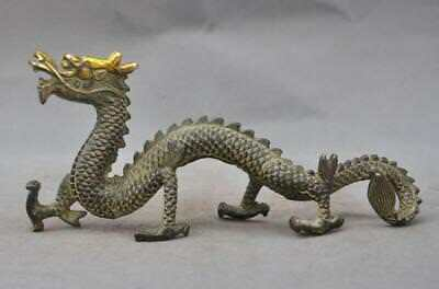 "8""Old China Fengshui bronze gilt auspicious zodiac dragon beast statue sculpture"
