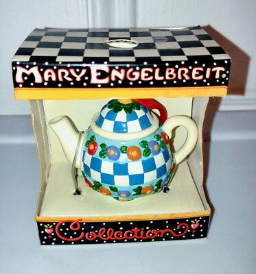 Mary Engelbreit Collection Checkered Teapot Ornament NEW in Box