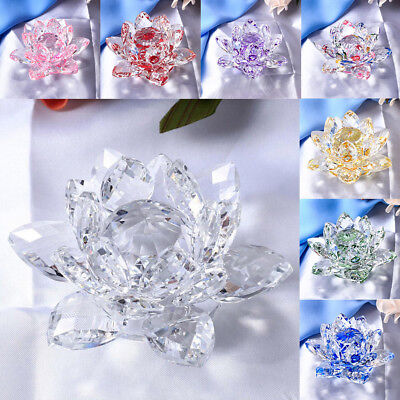 Clear Reflection Crystal Lotus Flower with Gift Box 105mm Home Wedding Decor