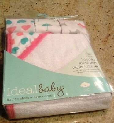 Aden + Anais New Baby Girl Hooded Towel & Wash Cloths Muslin Hearts Baby Shower