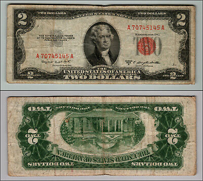 1953B $2 Dollar Bill  Us Note Legal Tender Paper Money Currency Red Seal P763