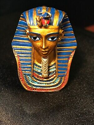 "Ancient Egyptian Decorative Pharaoh King Tut Figurine Bust 1.75"" Tall  NIB"