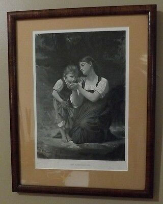 """Photogravure 1889 The Improvised Cup. Period Frame. 11"""" X 15"""""""