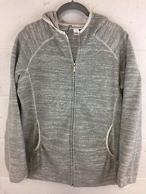 Motherhood Mayernity Medium Gray Fleece Hooded Jacket Pockets EUC Comfy