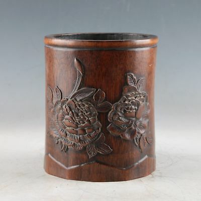 Exquisite Bamboo Wood Hand Carved The Flowers Brush Pot DY538