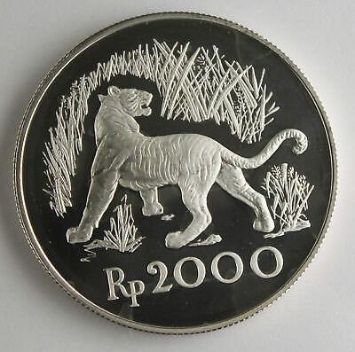 Indonesia 1974 2000 Rupiah 925 Silver Proof Coin Wildlife Javan Tiger