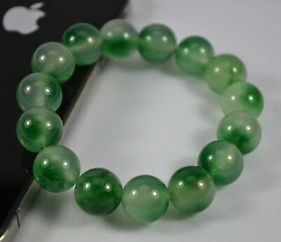 AU Multi Green 12mm Diameter Yunan Color Stone Bead Stretch Bracelet Girl Gift 6