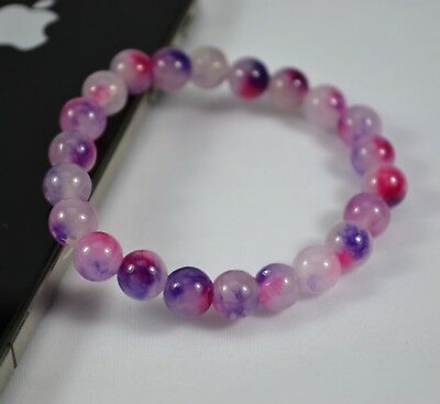 AU Combine Purple Pink 8mm Diameter Color Stone Bead Stretch Bracelet Girl Gift