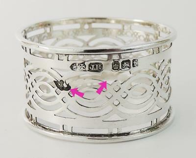 DAMAGED Pretty VICTORIAN PIERCED STERLING SILVER NAPKIN RING 1898 Sheffield