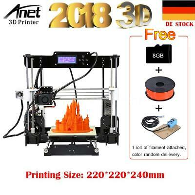 Anet A8 Upgrade 3D Drucker Acryl DIY Kits 220 *220 *240mm+8GB SD+Rolle Filament
